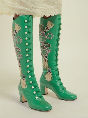 Gucci amaya embroidered leather boots