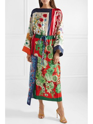Gucci asymmetric printed silk-twill midi dress
