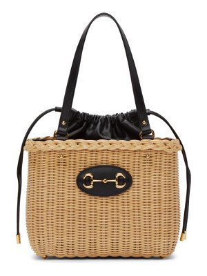 Gucci beige & black ' 1955' horsebit basket bag