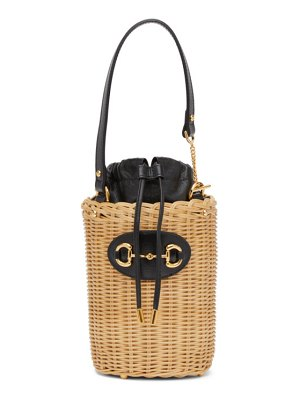 Gucci beige & black small ' 1955' horsebit basket bag