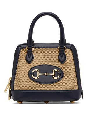 Gucci beige and navy small gg  1955 horsebit bag