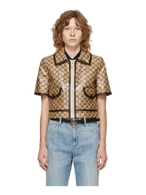 Gucci beige & brown coated canvas gg short sleeve jacket
