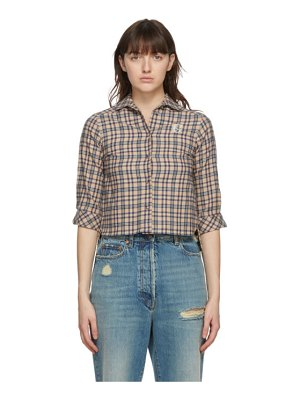 Gucci beige cotton and wool check petit shirt
