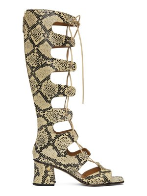 Gucci beige python gladiator heeled tall sandals