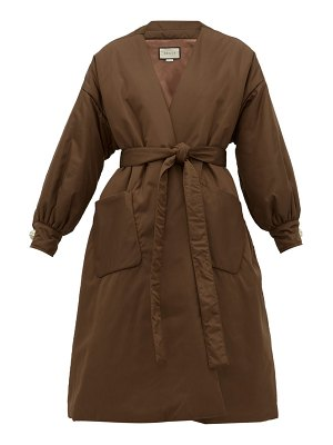 Gucci belted padded silk satin coat