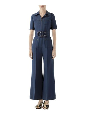 Gucci belted wide leg cady crepe jumpsuit