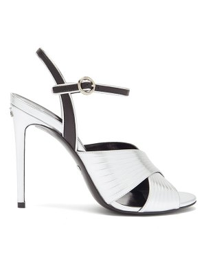 Gucci betsy crossover metallic-leather sandals