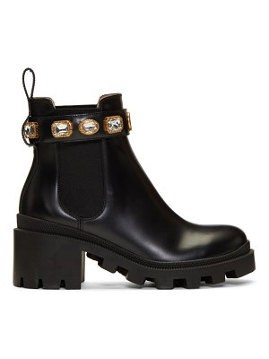 Gucci black gg crystal boots