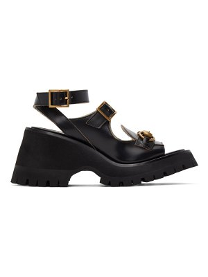 Gucci black horsebit platform sandals