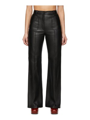 Gucci black leather flared trousers