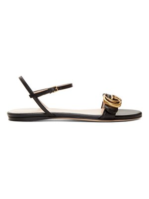 Gucci black leather gg sandals