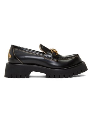 Gucci black leather lug sole loafers