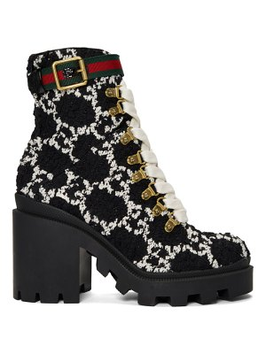 Gucci black tweed gg ankle boots