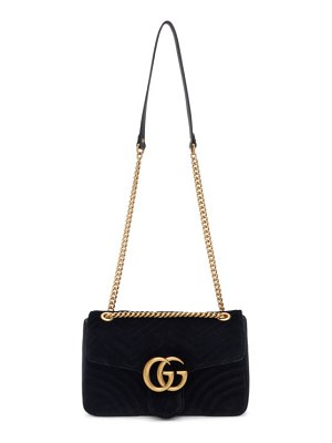 Gucci black velvet medium gg marmont 2.0 bag