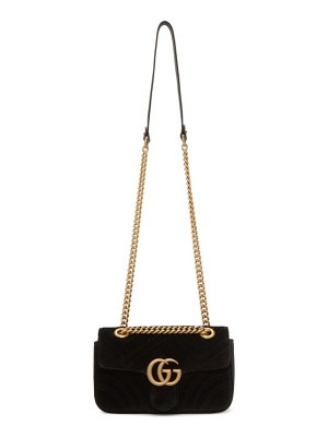 Gucci black velvet mini gg marmont 2.0 bag