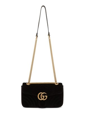 Gucci black velvet small gg marmont 2.0 bag