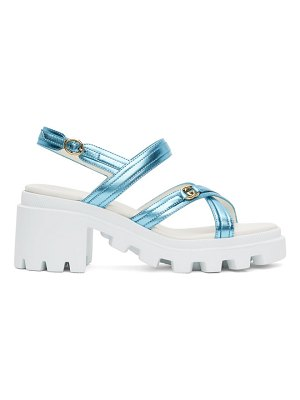 Gucci blue metallic lug sole heeled sandals