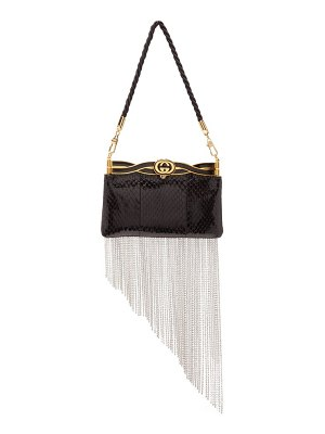 Gucci broadway crystal fringed watersnake clutch