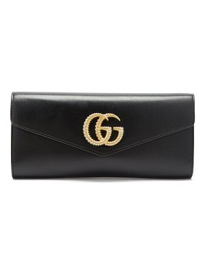 Gucci broadway gg-plaque leather clutch bag