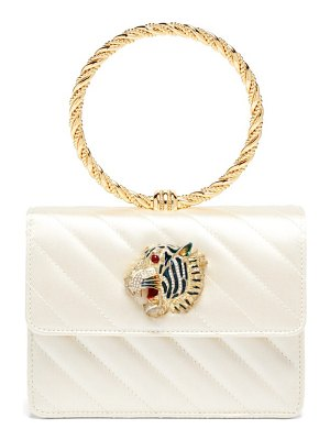 Gucci broadway tiger-embellished quilted-satin clutch
