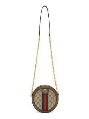 Gucci brown and beige round gg ophidia bag