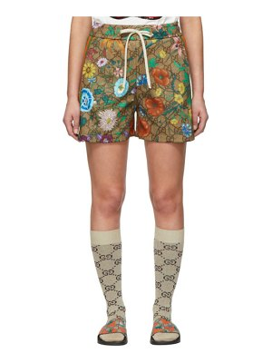 Gucci brown gg supreme flowers shorts