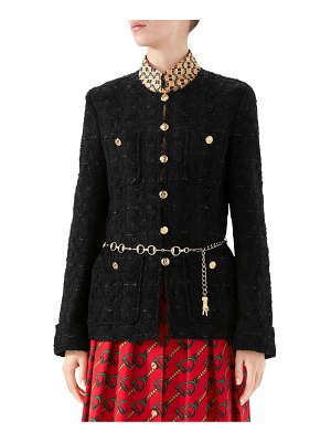 Gucci button & belted tweed jacket