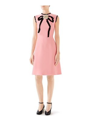 Gucci cady crepe bow a-line dress