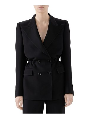 Gucci cady crepe cinched double breasted blazer