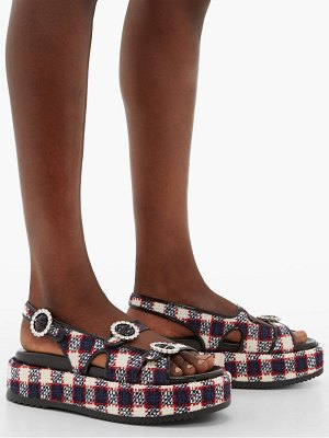 Gucci checked tweed platform leather sandals