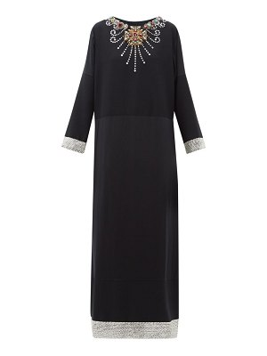 Gucci crystal embellished wool and silk blend satin gown