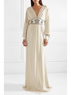 Gucci crystal-embellished wrap-effect georgette gown