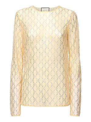 Gucci Crystal embroidered sheer tulle top