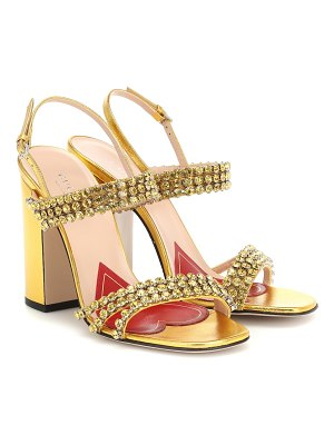 Gucci crystal metallic leather sandals