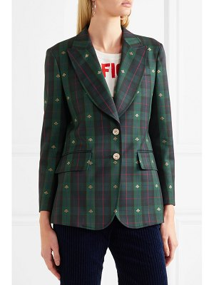 Gucci embroidered checked wool blazer