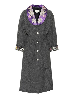 Gucci Embroidered checked wool coat