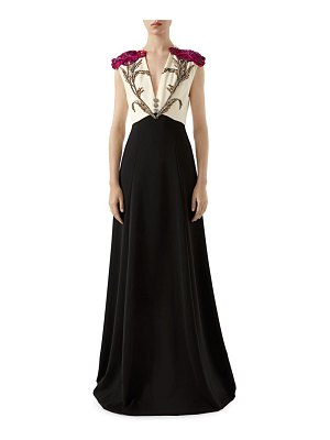 Gucci embroidered flower sleeveless gown