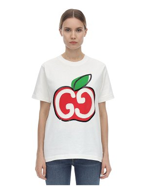 Gucci Embroidered gg apple jersey t-shirt
