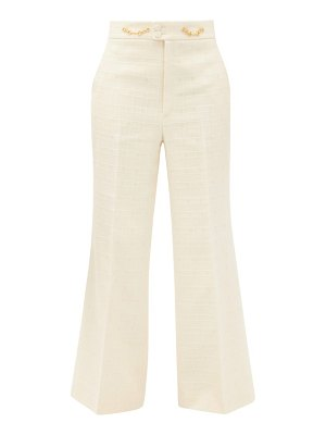 Gucci flared high-rise cotton-blend tweed trousers