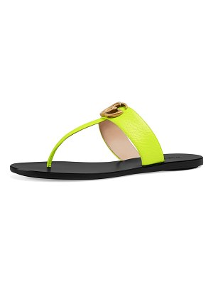 Gucci Flat Neon Leather Thong Sandals