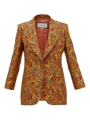 Gucci floral and gg single-breasted blazer