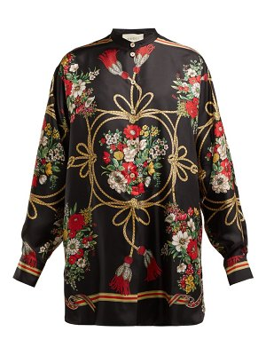 Gucci floral and tassel print silk twill blouse