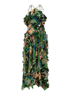Gucci floral check print ruffled silk crepe gown