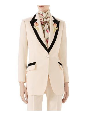 Gucci Floral-Embroidered Wool Jacket