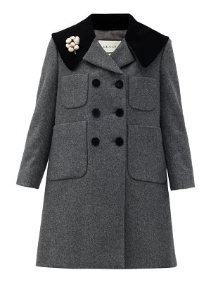 Gucci floral-pin double-breasted wool coat