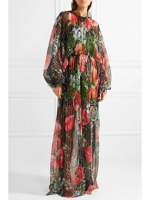 Gucci floral-print crinkled silk-blend chiffon gown