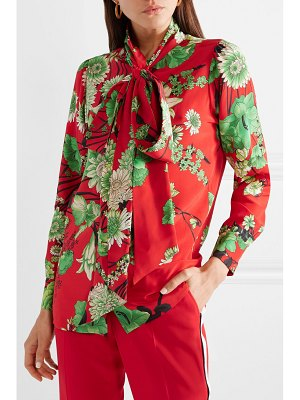Gucci floral-print pussy bow silk-satin blouse