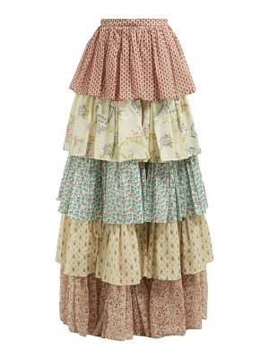 Gucci floral print tiered cotton maxi skirt