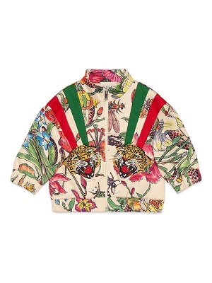Gucci Floral Zip-Up Sweatshirt w/ Tiger Patches