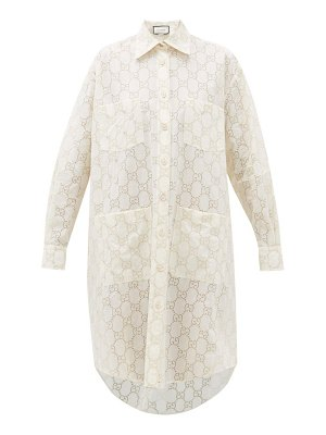 Gucci gg broderie anglaise cotton blend shirtdress